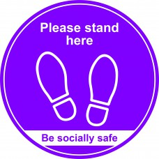 400mm Floor Graphic Please stand here - Purple
