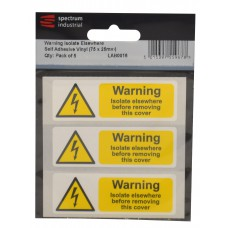 Warning Isolate Elsewhere - Pack of 5 SAV (75 x 25mm)
