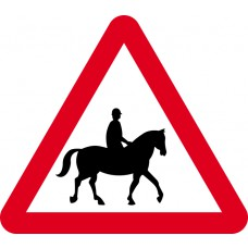 600mm tri. Dibond 'Accompained horses or ponies likely ahead' Road Sign (without channel)