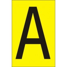75mm Yellow Vinyl - Character 'A'   (Pack of 10)