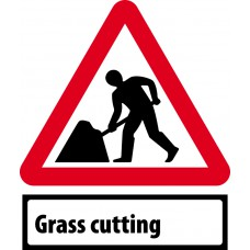 Road works & Grass Cutting Supp plate - Classic Roll up traffic sign (600mm Tri)