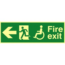 Disabled fire exit man running arrow left - PHO (450 x 150mm)