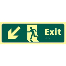 Exit man running arrow down/left - TaktylePh (450 x 150mm)