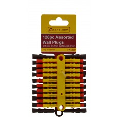 120 Assorted Wall Plugs - Yellow, Red & Brown