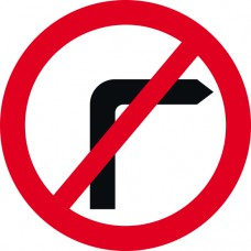 450mm dia. Dibond 'No Right Turn' Road Sign (with channel)