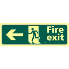 Fire exit man running arrow left - TaktylePh (450 x 150mm)