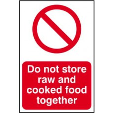 Do not store raw and cooked foods together - PVC (200 x 300mm)