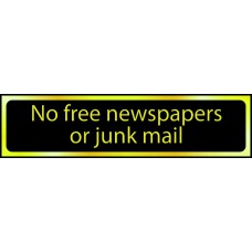 No free newspapers or junk mail - POL (200 x 50mm)