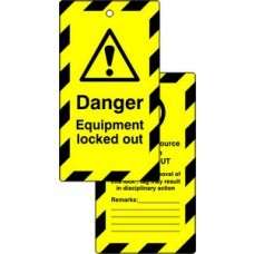 Lockout tags - Danger Equipment locked out (Double sided 10 pack)