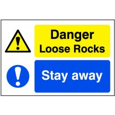 Quarry Sign: Danger Loose rocks / Stay away - DIB (600 x 400mm)