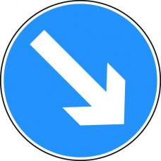 600mm dia. Dibond 'Down/Right Arrow' Road Sign (without channel)