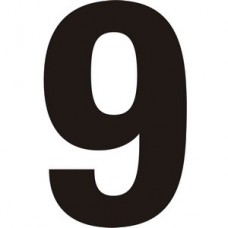 75mm Black Helvetica Bold Condensed Style Vinyl Number 9   (Pack of 10)