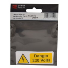 Danger 230 Volts - Pack of 5 PVC (75 x 25mm)