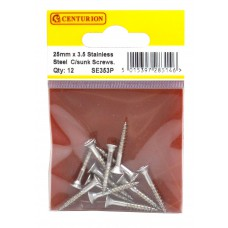 3.5mm x 25mm Stainless Steel Chipboard Screws CRCS Head Countersunk (Pack of 12)