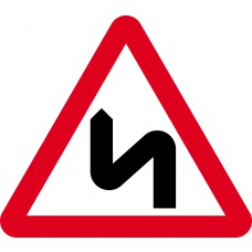 600mm tri. Dibond 'Double bend ahead' Road Sign (with channel)