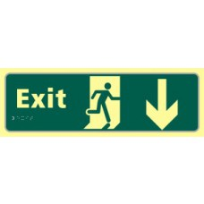 Exit man running arrow down - TaktylePh (450 x 150mm)