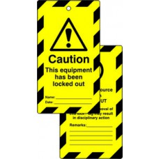 Lockout tags - Caution This equipment has been locked out (Double sided 10 pack)