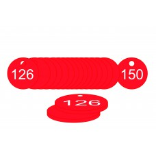 38mm dia. Traffolite Tags - Red (126 to 150)