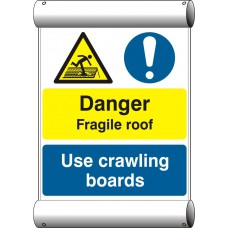 Danger Fragile roof Use crawling boards - BAN (670 x 1000mm)