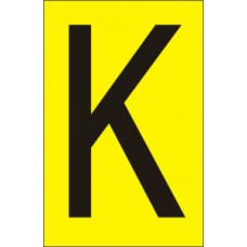 75mm Yellow Vinyl - Character 'K'   (Pack of 10)