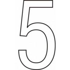 75mm White Vinyl - Character '5'   (Pack of 10)