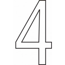 75mm White Vinyl - Character '4'   (Pack of 10)