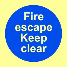 Fire escape Keep clear - PHS (100 x 100mm)