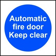 Automatic fire door Keep clear - RPVC (150 x 150mm)