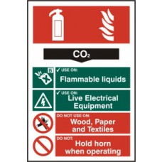 Fire extinguisher composite - CO2 - PVC (200 x 300mm)