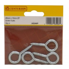 45 x 10mm ZP Steel Screw Eyes (Pack of 4)