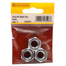 M12 ZP Steel Hex Nuts (Pack of 3)