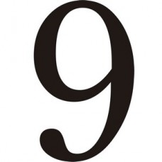 51mm Black Traditional Oldstyle Font Vinyl Number 9   (Pack of 10)
