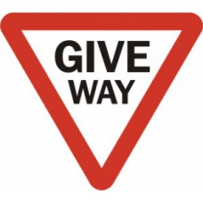 600mm tri. Dibond 'GIVE WAY' Road Sign (with channel)