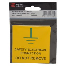 Safety Electrical Connection Do Not Remove - Pack of 5 PVC (75 x 75mm)