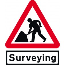 Road Works with Surveying Supp plate - TriFlex Roll up traffic sign (900mm Tri)