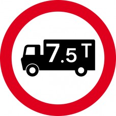 450mm dia. Dibond '7.5 Tonne Weight Restriction' Road Sign (with channel)