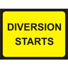 1050 x 750mm  Temporary Sign & Frame - Diversion Starts