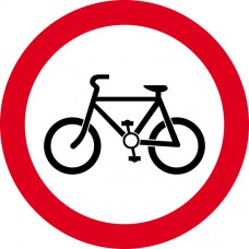 450mm dia. Dibond 'Cyclists Prohibited' Road Sign (with channel)