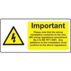Important - Additions Must Comply... - SAV (95 x 45mm, sheet of 12 labels)