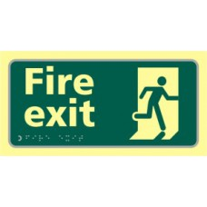 Fire exit running man - TaktylePh (300 x 150mm)