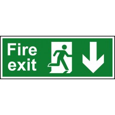 Fire exit (Man arrow down) - SAV (300 x 100mm)