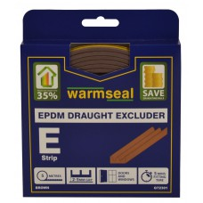 5m Brown 'E' Profile Longlife Foam Draught Excluder