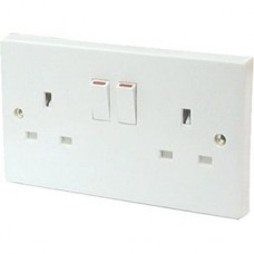 13 Amp 2 Gang Switched Wall Socket