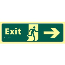 Exit man running arrow right - TaktylePh (450 x 150mm)