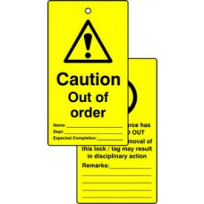 Lockout tags - Caution Out of order (Double sided 10 pack)