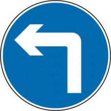600mm dia. Dibond 'Left Turn' Road Sign (with channel)