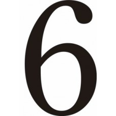 51mm Black Traditional Oldstyle Font Vinyl Number 6