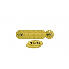 27mm dia. Brass Filled Tags (126 to 150)