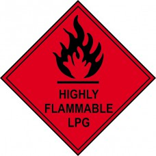 Highly flammable LPG - Labels (250 x 250mm Pack of 10)
