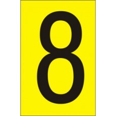 75mm Yellow Vinyl - Character '8'   (Pack of 10)